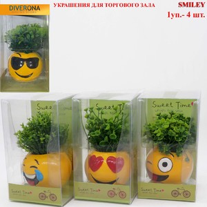 4 pieces set of handmade painting decorative emoji pots