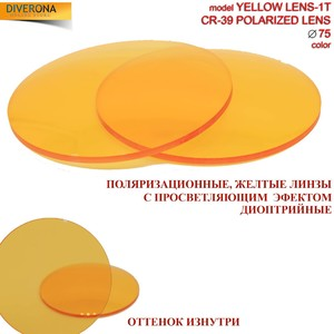 Polarized plastic lenses Ø75 mm with antireflection effect POLARIZED YELLOW LENS-1T (price is for 1 pair)