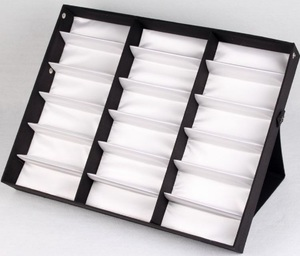 Sunglasses folding holder display with 18 slots, black with a white lining