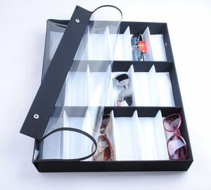 Sunglasses holder display with 18 slots, black with a white lining