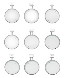 Prismatic lenses with a metal rim for trial lens set