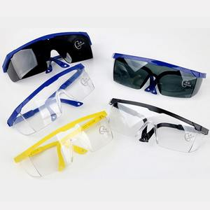Safety one-piece glasses with plastic lenses