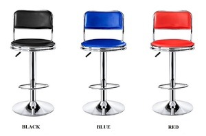 Fixed tall round swivel lift stool with round base and footrest 方背 高