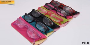 Plastic frame glasses with artificial leather case VIZZINI V8158