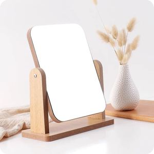 Rotating table mirror for optics salon with yellow tint, 21*15 cm