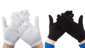 Knitted gloves A6002 - white/black (price for 1 pair)